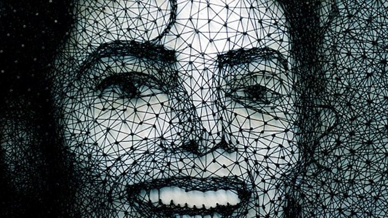 MJ Portrait with 15,000 nails and string